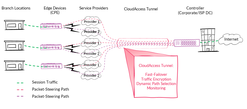 CloudAccess software-defined wide area networks